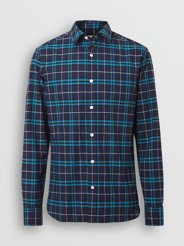 Check Stretch Cotton Shirt in Bright Navy - Men | Burberry United Kingdom - cell image 3