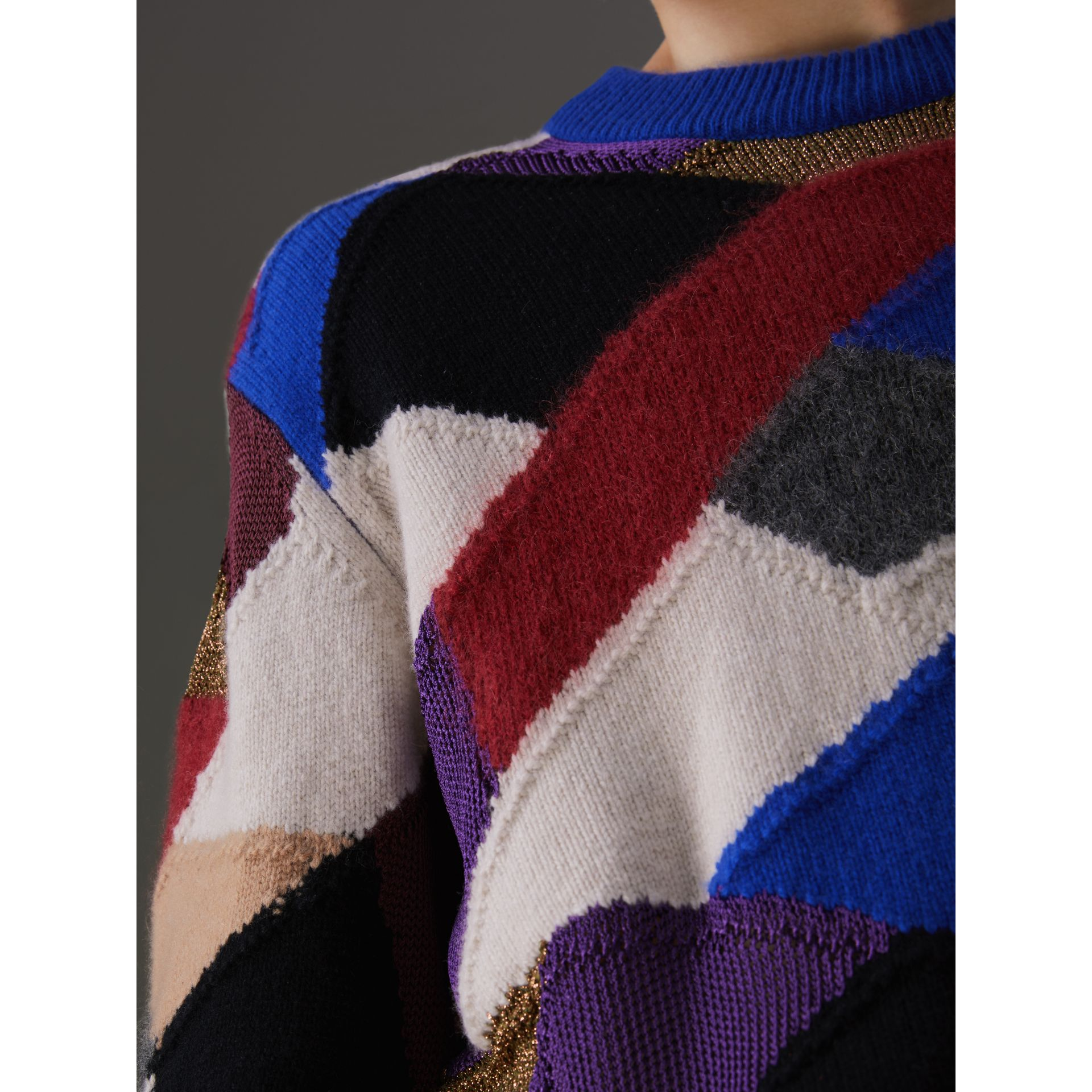 Patchwork Cashmere Wool Blend Sweater in Cobalt Blue - Men | Burberry United Kingdom - gallery image 5
