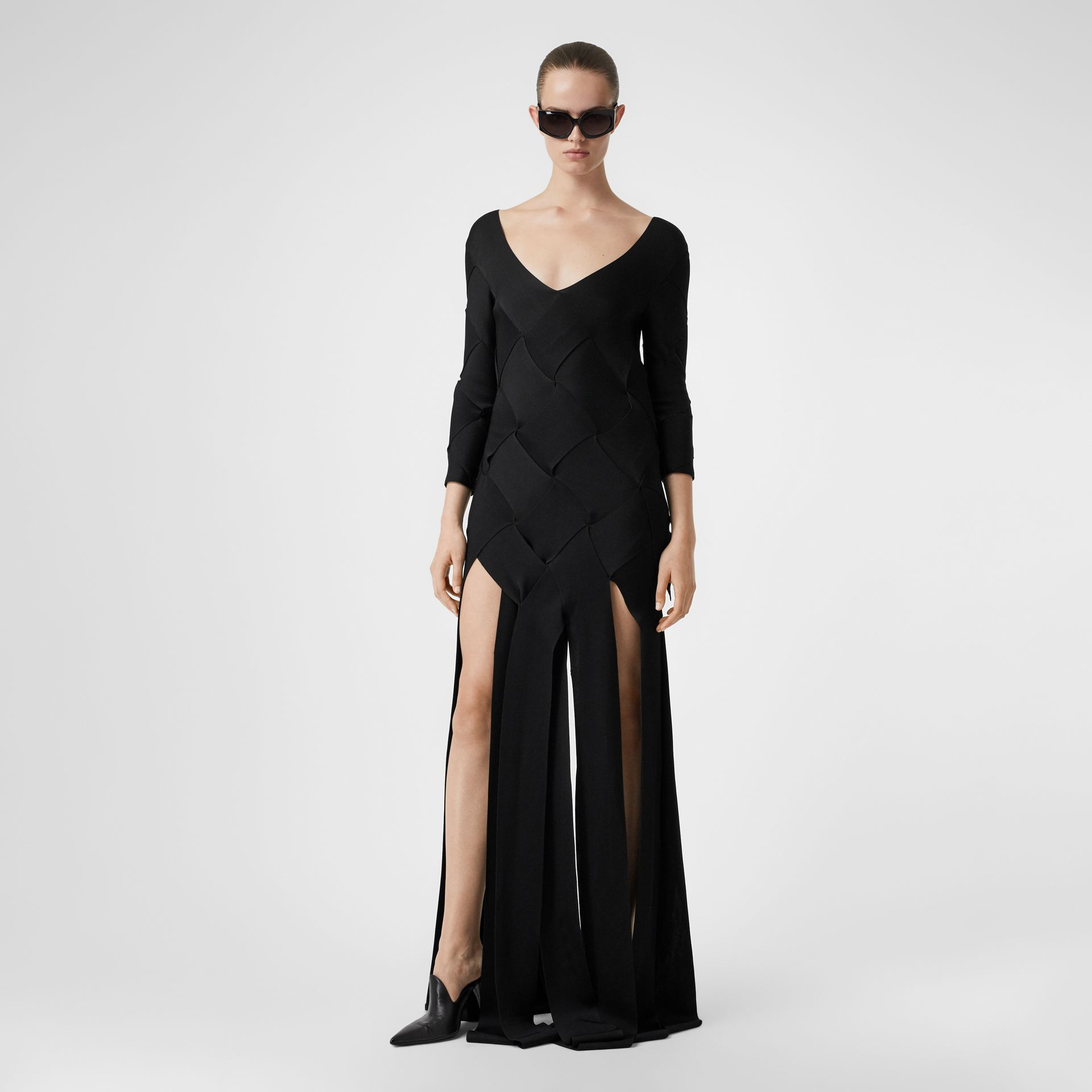 Long-sleeve Panelled Knit Gown in Black - Women | Burberry United Kingdom - gallery image 5