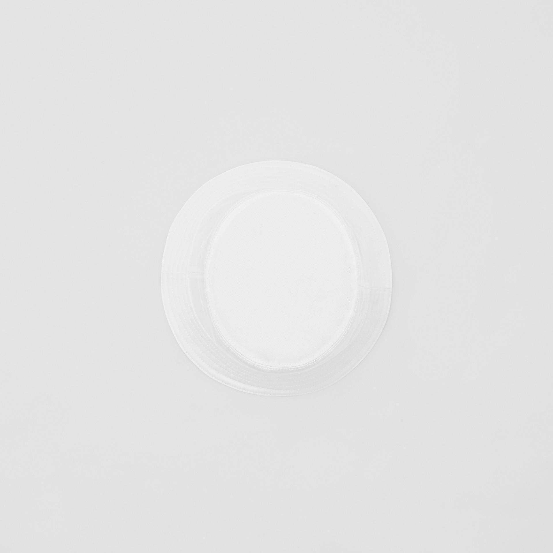 Logo Appliqué Cotton Bucket Hat in White | Burberry - gallery image 0