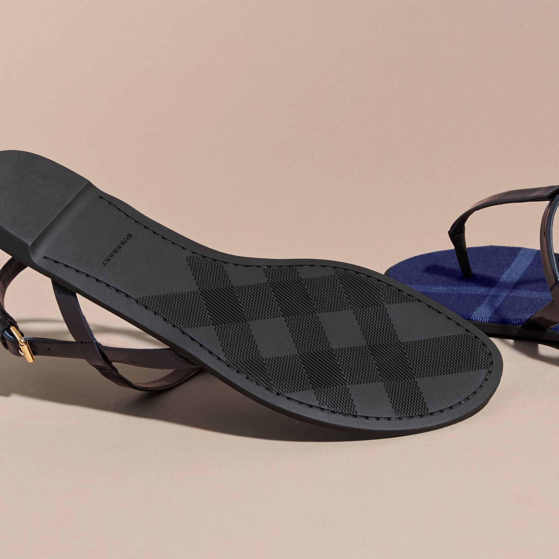 House Check-lined Leather Sandals in Indigo Blue - gallery image 6