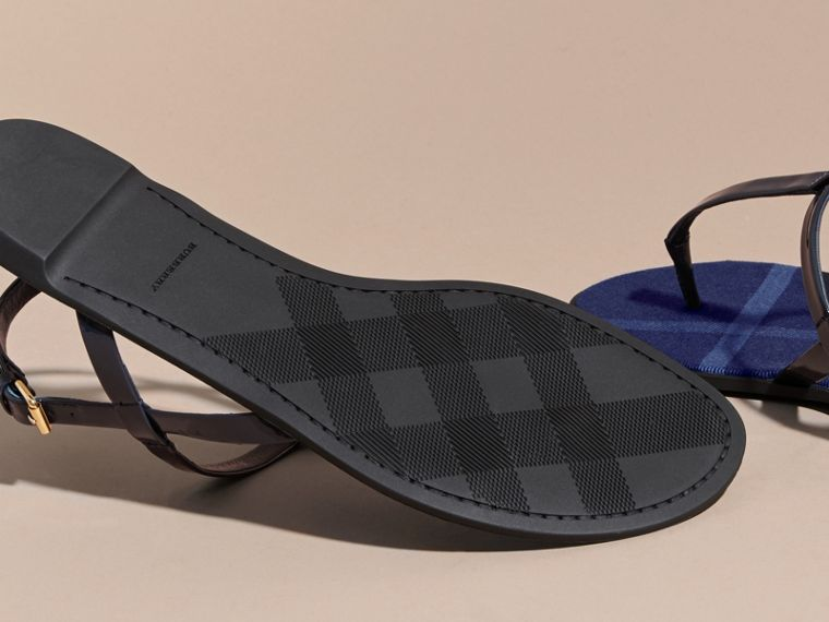 Indigo blue House Check-lined Leather Sandals Indigo Blue - cell image 4
