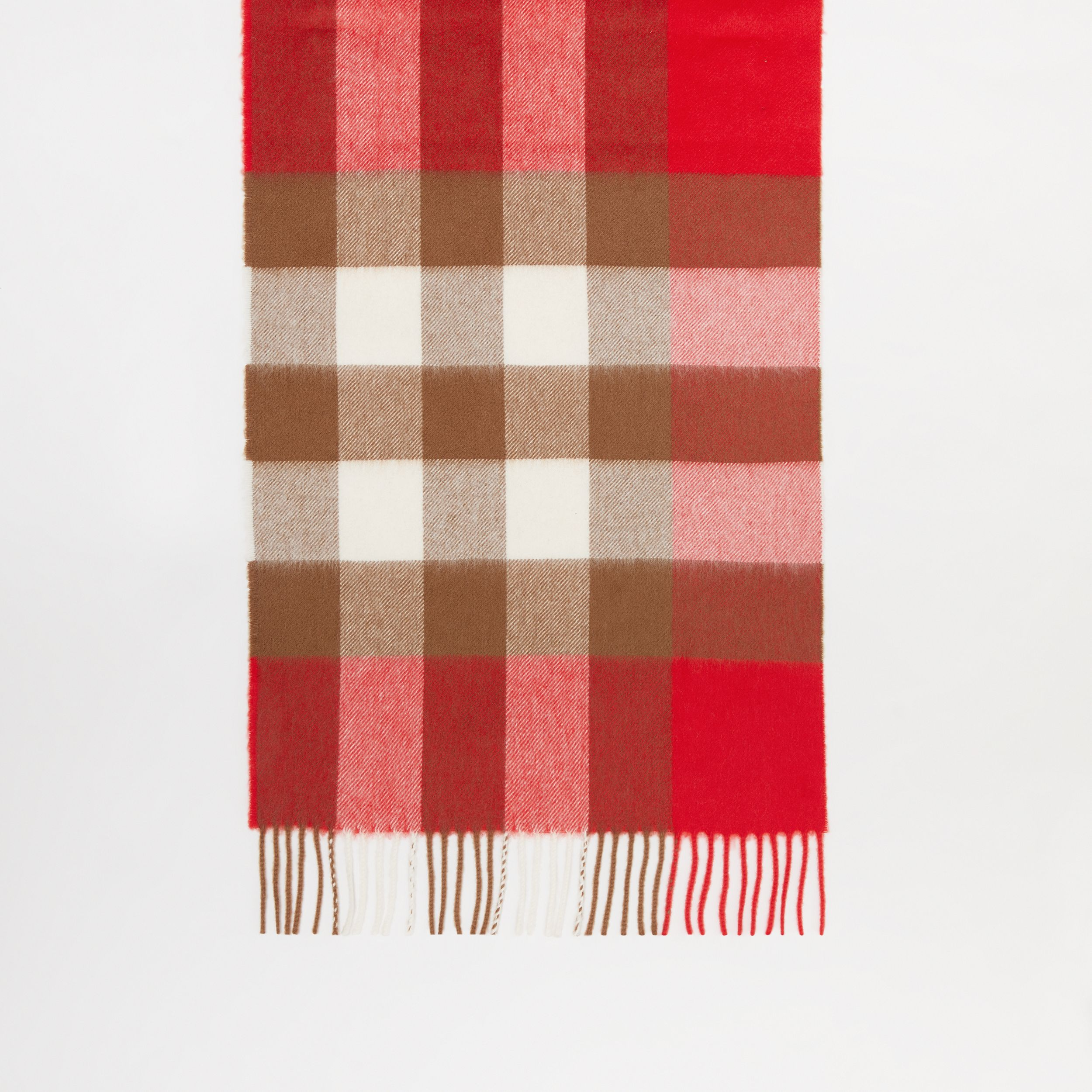 Check Cashmere Scarf in Bright Red | Burberry - 4