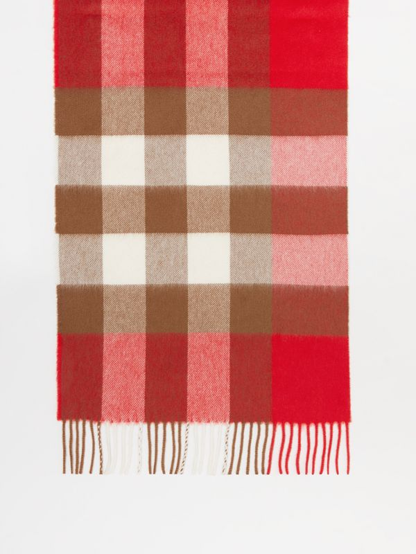 Check Cashmere Scarf in Bright Red | Burberry - cell image 3