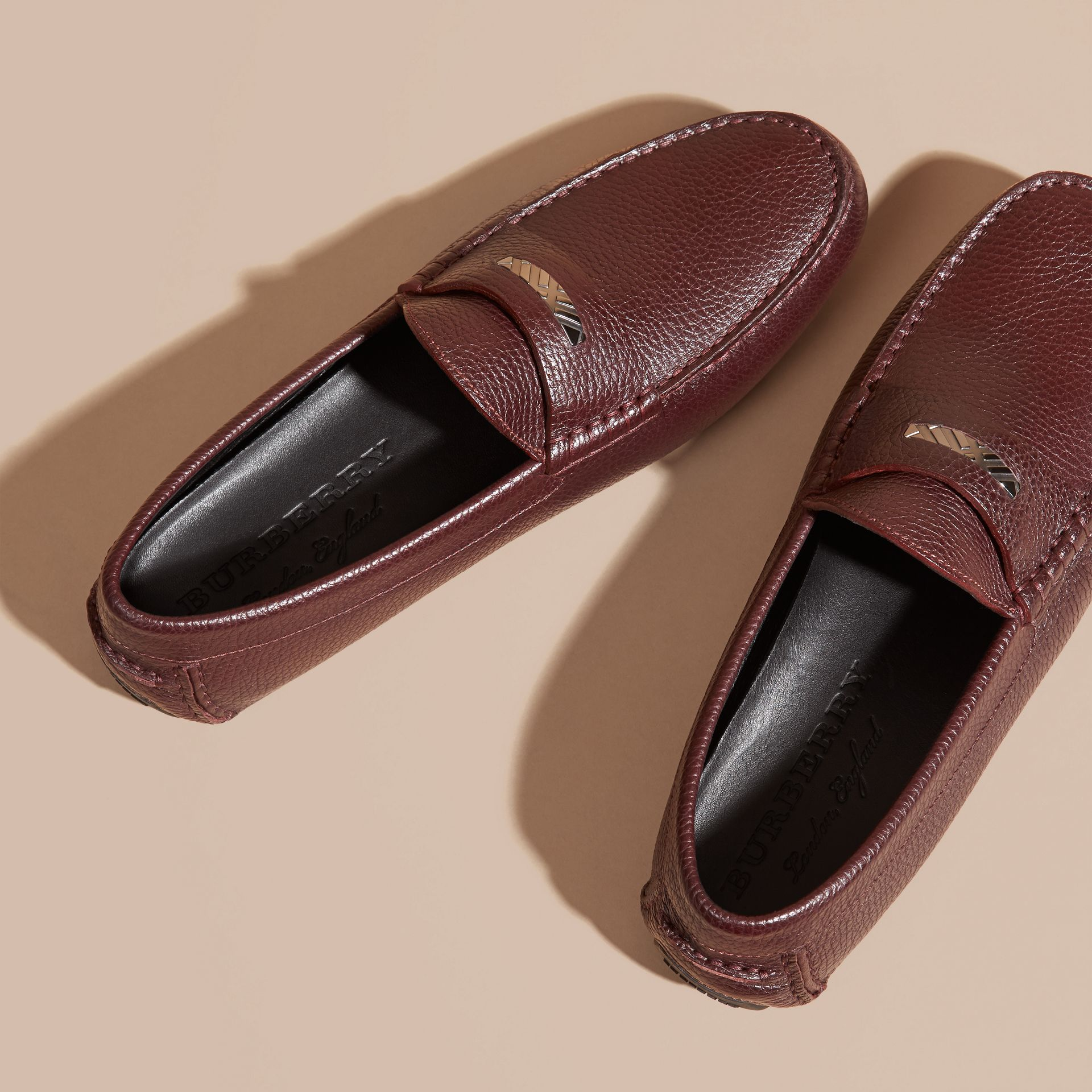 Bordeaux Grainy Leather Loafers with Engraved Check Detail Bordeaux - gallery image 3