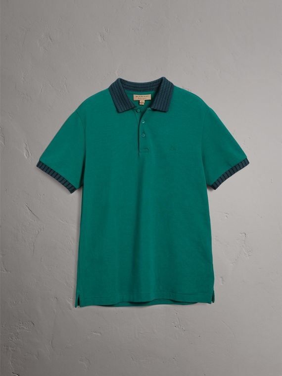 Knitted Detail Cotton Piqué Polo Shirt in Deep Viridian Green - Men | Burberry Singapore - cell image 3