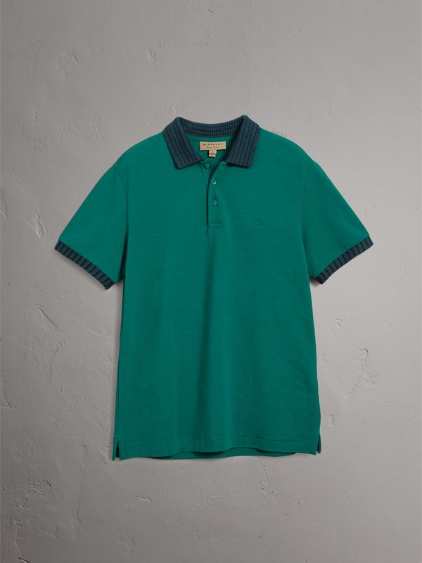 Knitted Detail Cotton Piqué Polo Shirt in Deep Viridian Green - Men | Burberry - cell image 3