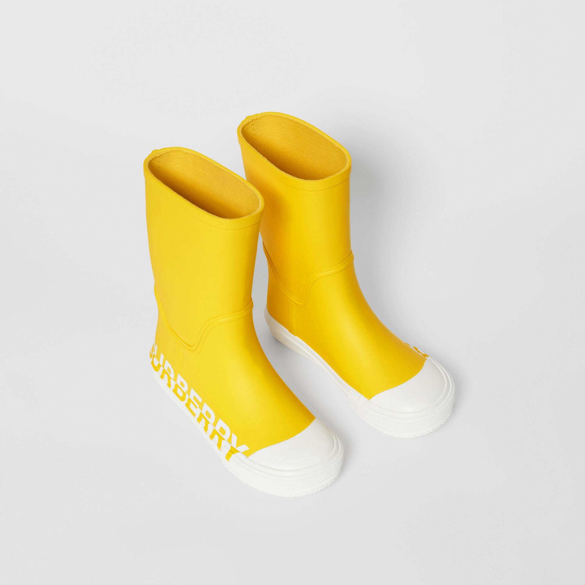 Двухцветные резиновые сапоги с логотипом (Канареечно-желтый) - Для детей | Burberry - изображение 0