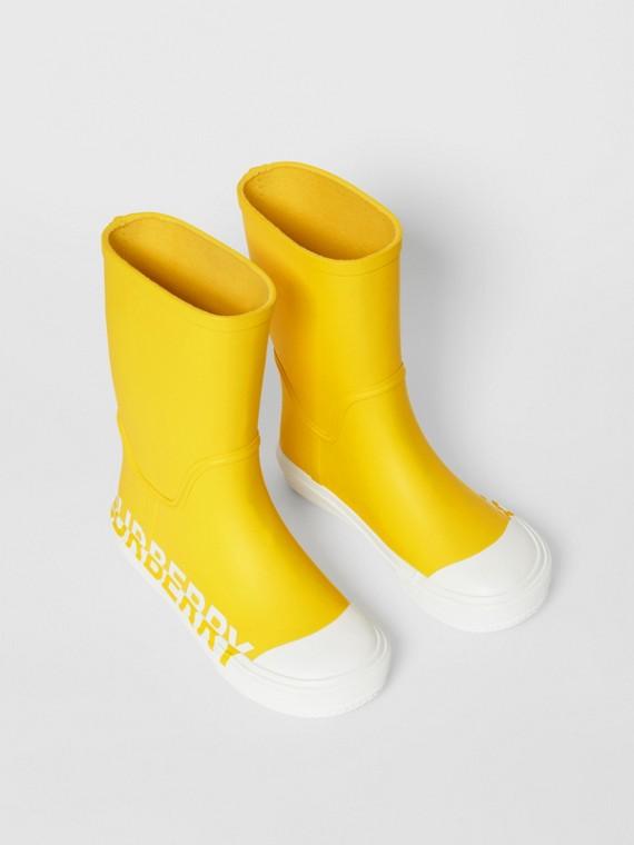 Stivali da pioggia in gomma bicolore con logo (Giallo Canarino)
