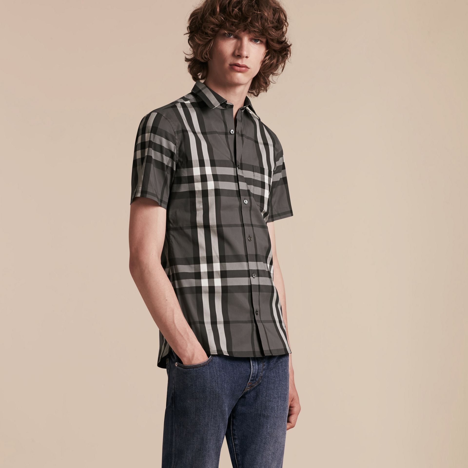 Short-sleeved Check Stretch Cotton Shirt in Charcoal - gallery image 6