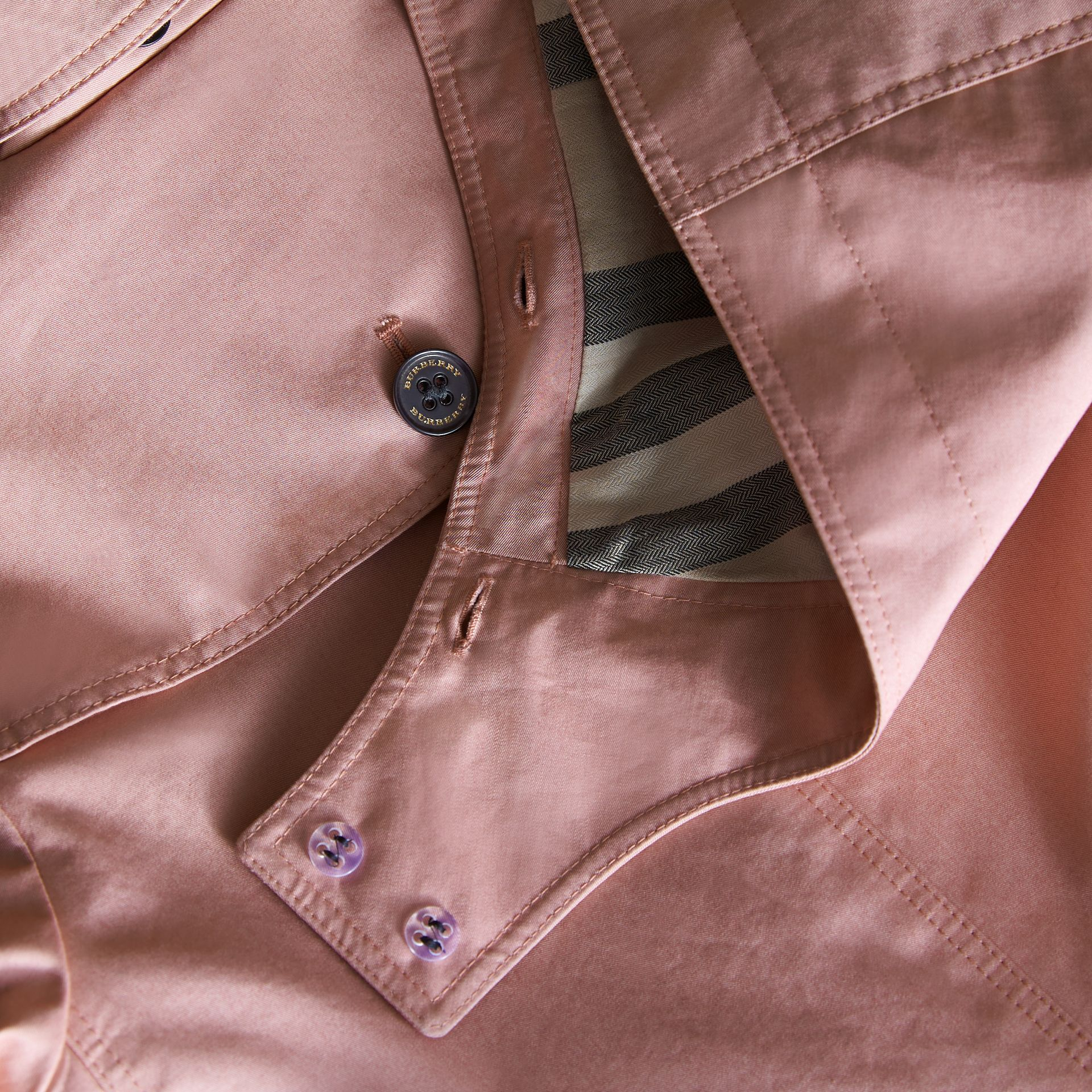 Detachable Hood Cotton Trench Coat in Pale Rose - Girl | Burberry - gallery image 2