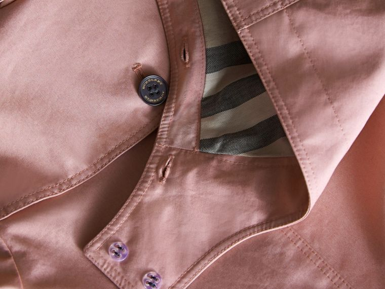 Detachable Hood Cotton Trench Coat in Pale Rose - Girl | Burberry - cell image 1