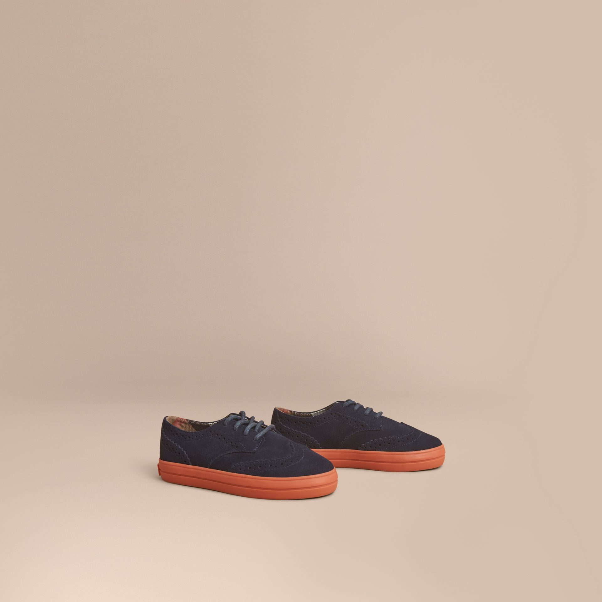 Suede Brogue-detail Trainers in Blue Carbon | Burberry United Kingdom - gallery image 1