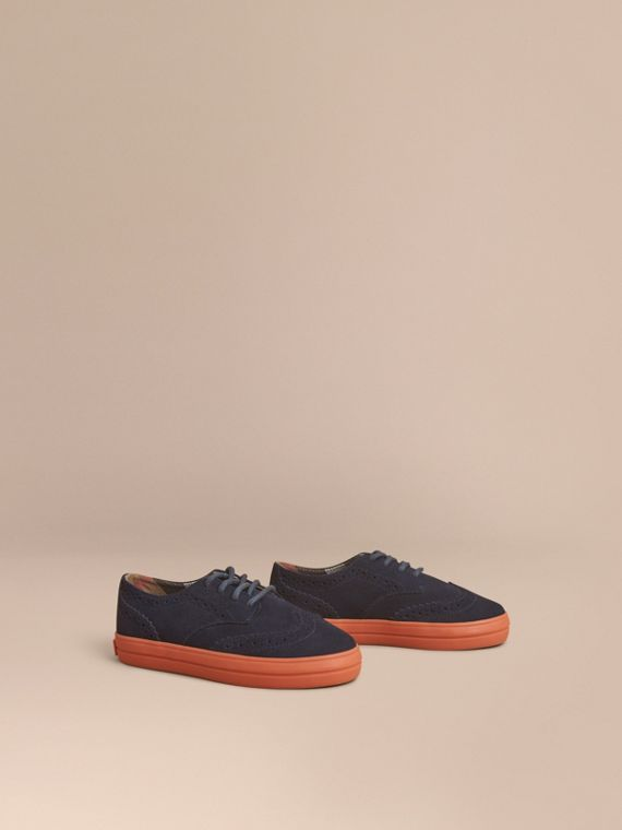 Suede Brogue-detail Trainers in Blue Carbon