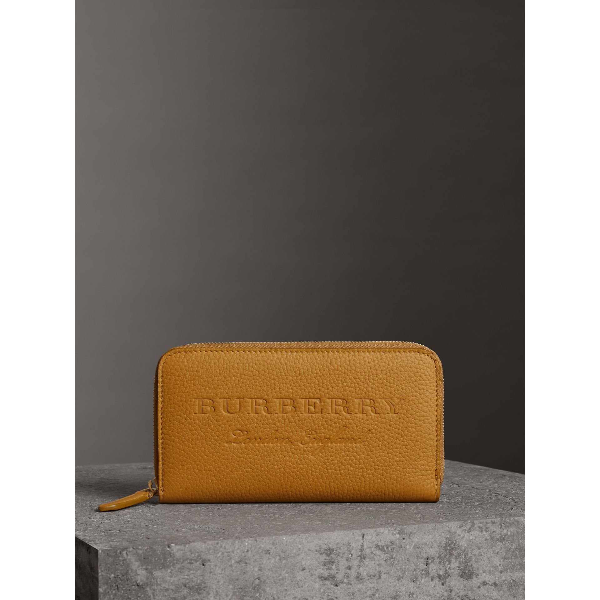 Embossed Leather Ziparound Wallet in Ochre Yellow - Women | Burberry - gallery image 4