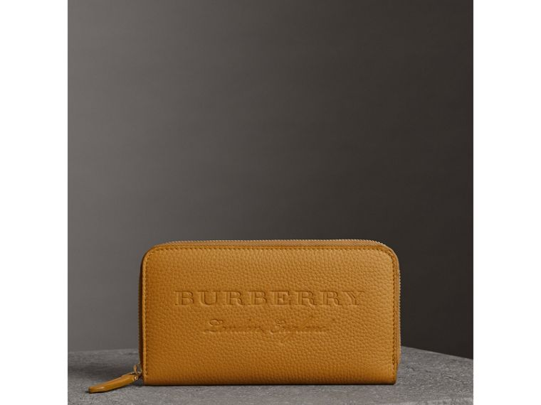 Embossed Leather Ziparound Wallet in Ochre Yellow - Women | Burberry - cell image 4