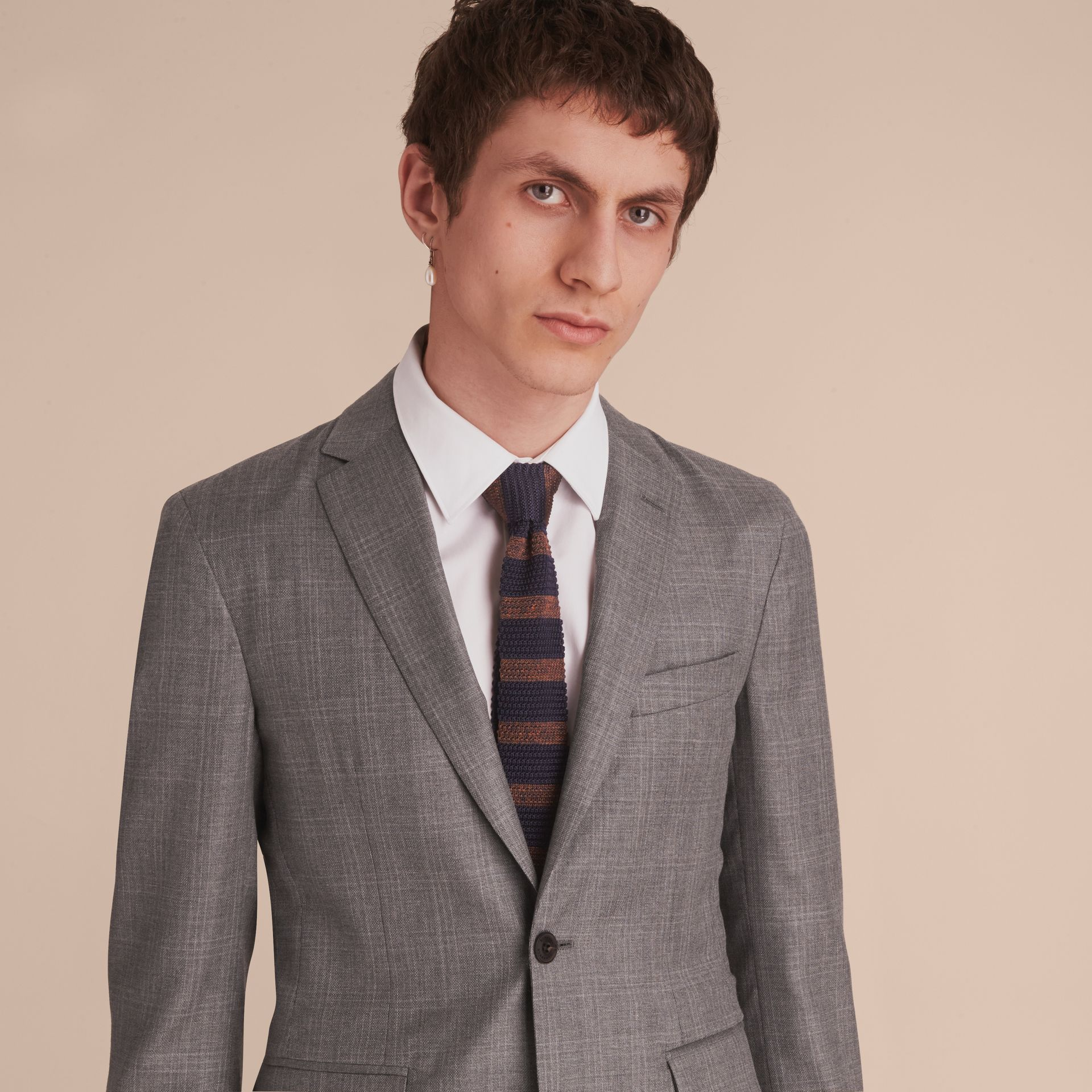 Slim Fit Prince of Wales Check Wool Part-canvas Suit in Pale Grey - Men | Burberry - gallery image 4