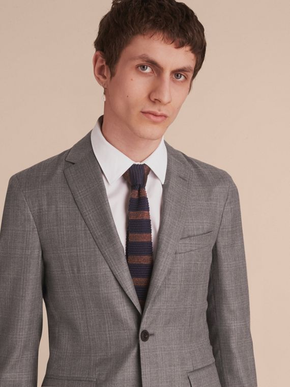 Slim Fit Prince of Wales Check Wool Part-canvas Suit in Pale Grey - Men | Burberry - cell image 3