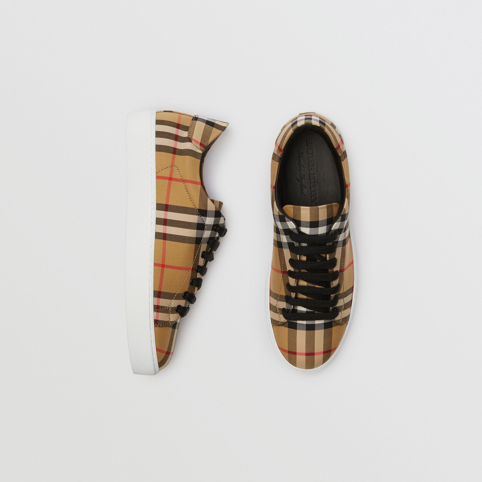 Vintage Check and Leather Sneakers in Antique Yellow - Women | Burberry Australia - gallery image 0