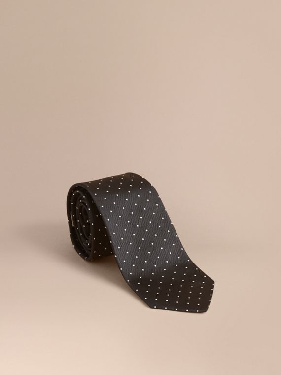 Modern Cut Polka Dot Silk Tie Black