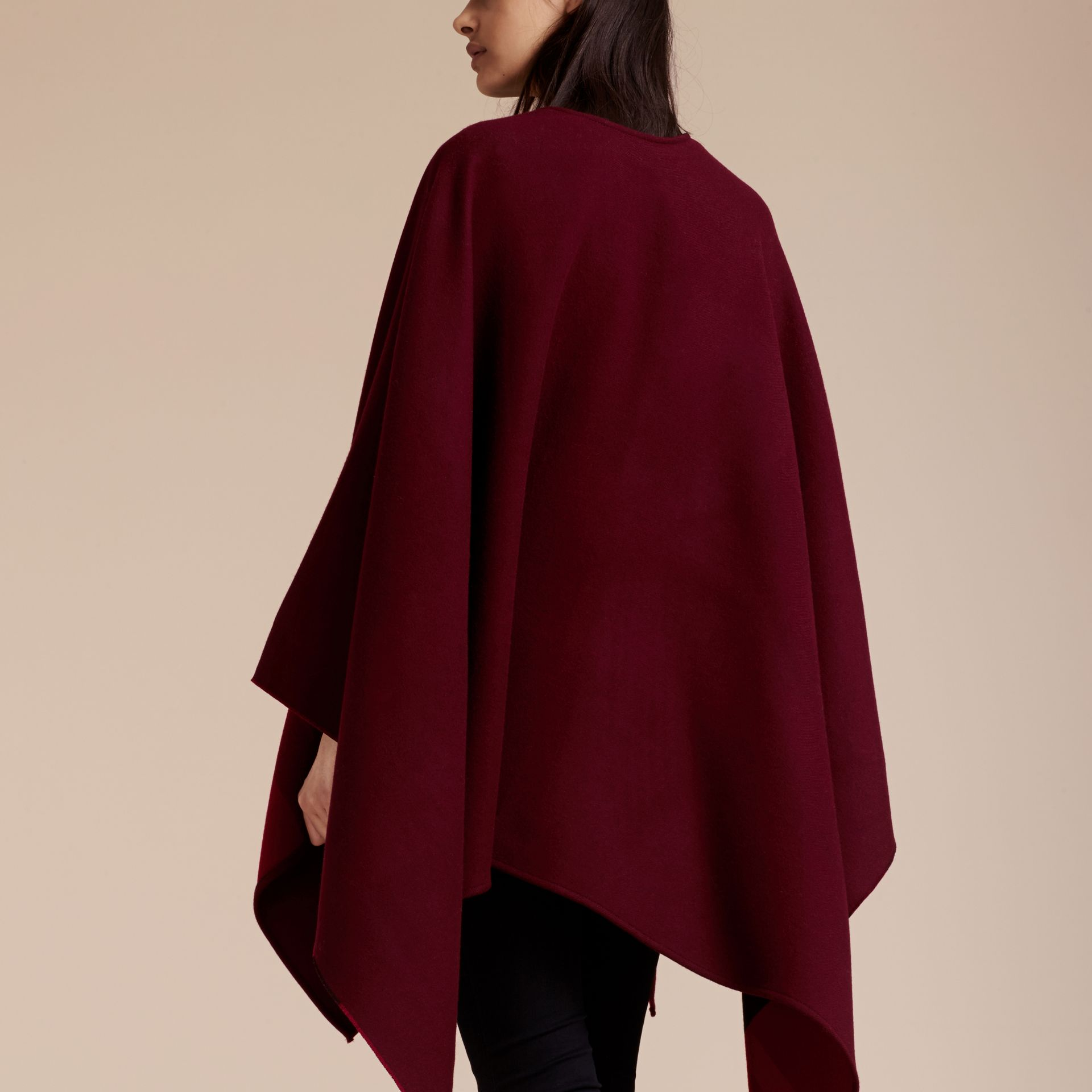Reversible Check Merino Wool Poncho in Parade Red - Women | Burberry - gallery image 6