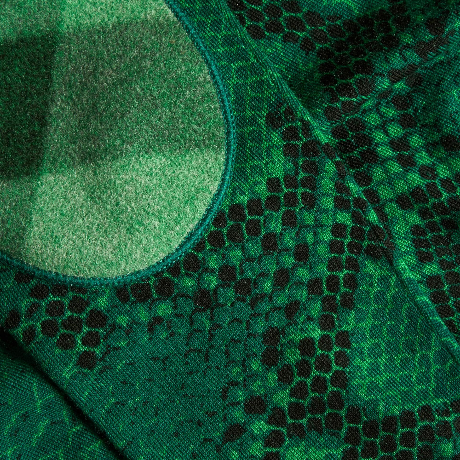 Verde pigmento Suéter de lã Merino com estampa de píton e detalhe xadrez Verde Pigmento - galeria de imagens 2