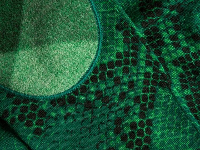 Verde pigmento Suéter de lã Merino com estampa de píton e detalhe xadrez Verde Pigmento - cell image 1