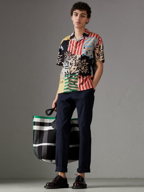 Chemise à manches courtes en coton à imprimé floral rayé (Bleu Acier)
