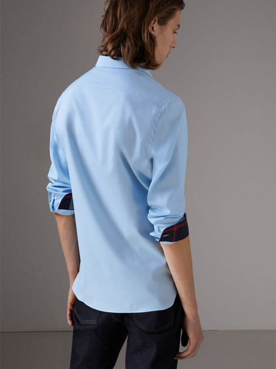 Resin Button Cotton Poplin Shirt in Pale Blue - Men | Burberry United States - cell image 2
