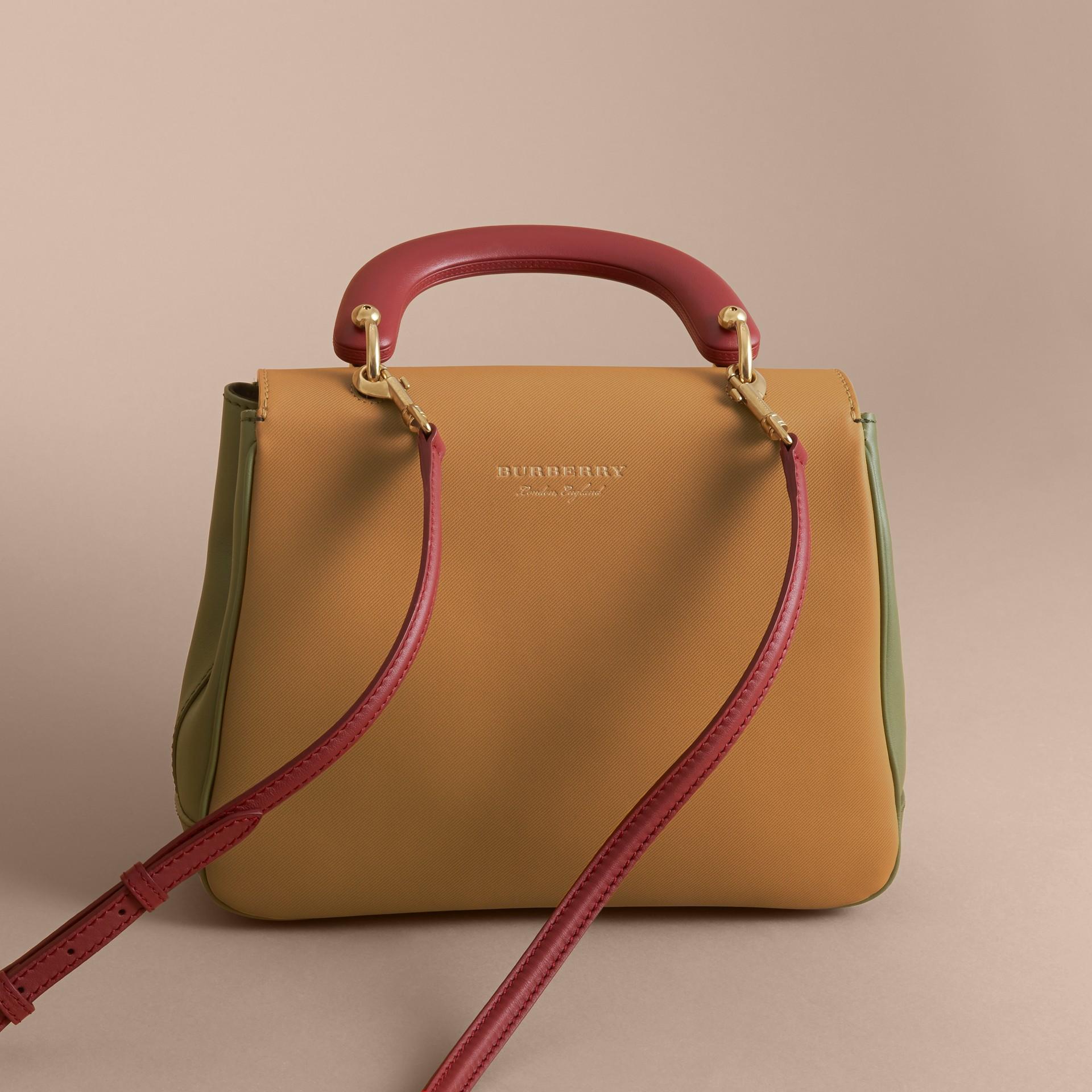 The Medium DK88 Top Handle Bag in Moss Green/ochre Yellow - gallery image 4
