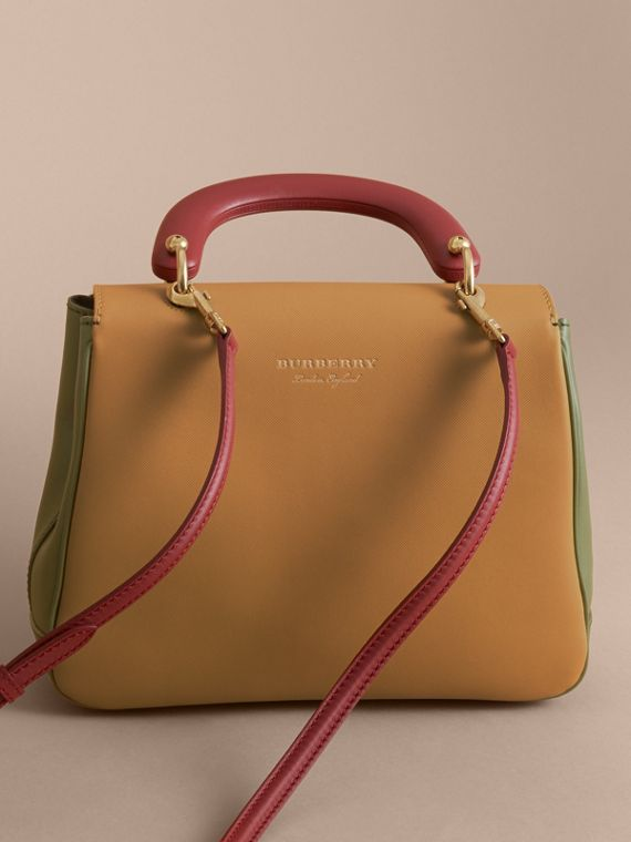 The Medium DK88 Top Handle Bag in Moss Green/ochre Yellow - cell image 3