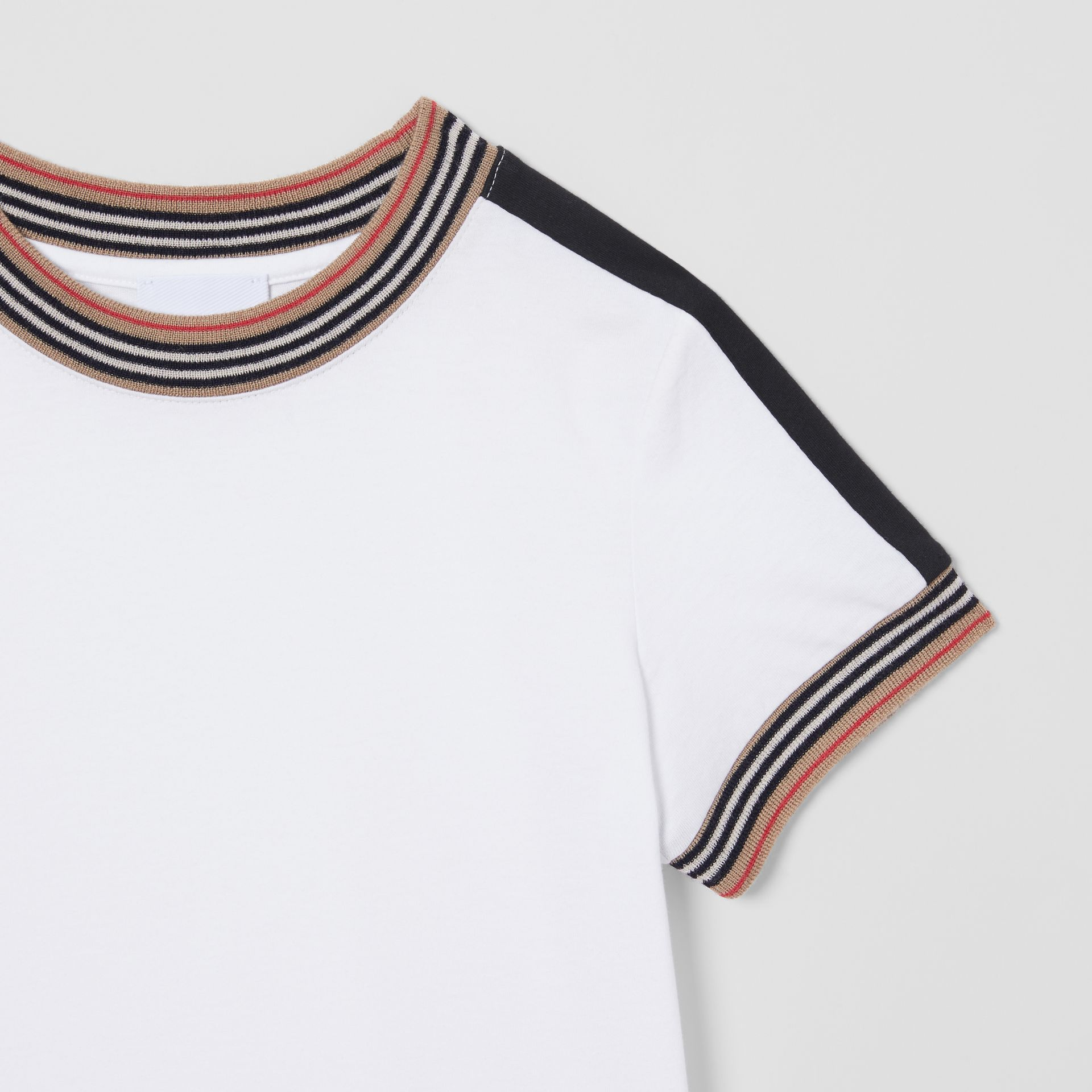 Icon Stripe Trim Cotton T-shirt in White | Burberry - gallery image 4