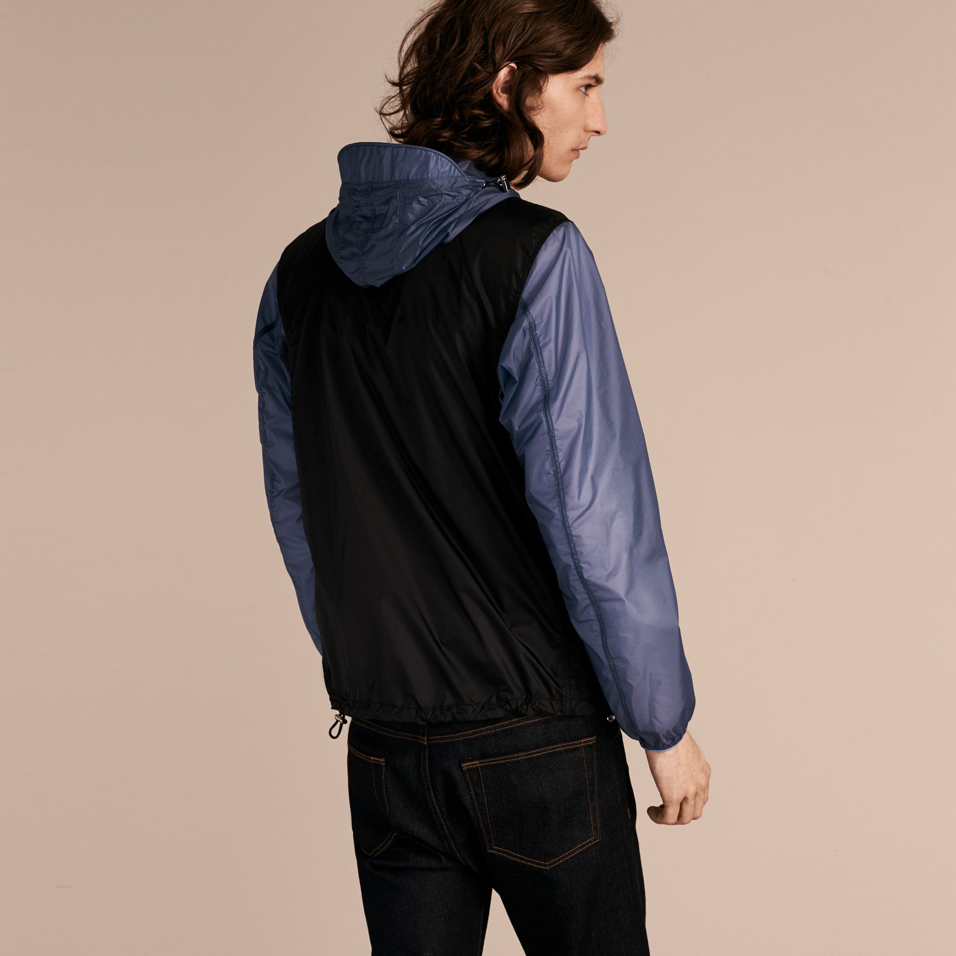 Dark navy Ultra-lightweight Two-tone Jacket with Hood - gallery image 3