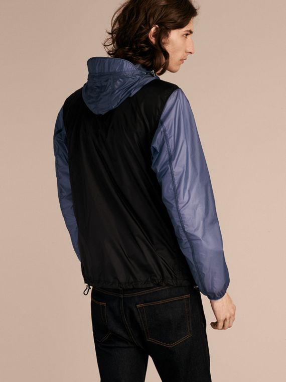 Dark navy Ultra-lightweight Two-tone Jacket with Hood - cell image 2
