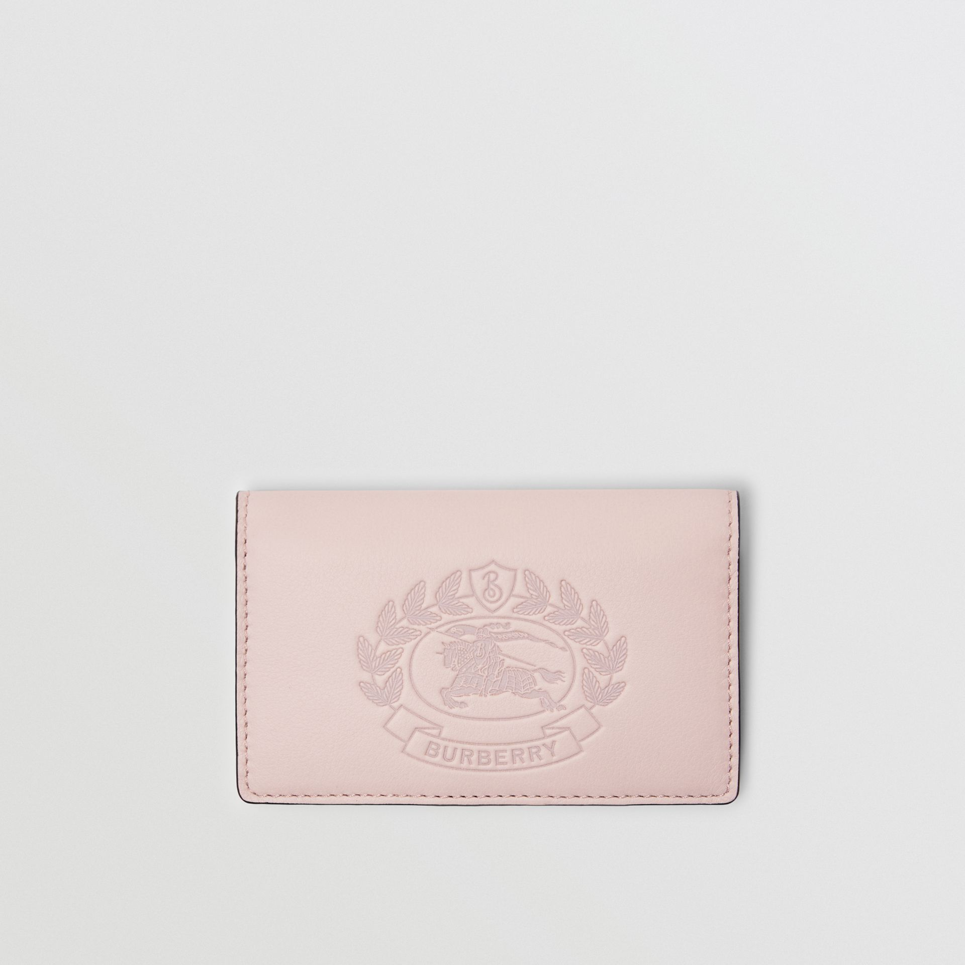 Small Embossed Crest Two-tone Leather Wallet in Chalk Pink - Women | Burberry Australia - gallery image 0