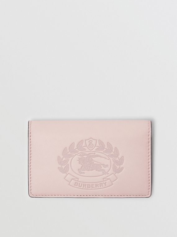 Small Embossed Crest Two-tone Leather Wallet in Chalk Pink