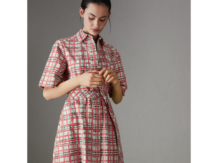 Painted Check Cotton Shirt Dress in Bright Aqua - Women | Burberry - cell image 4