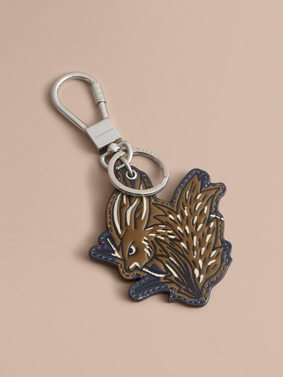 Porte-clés en cuir à motif Bestiaire (Hâle)