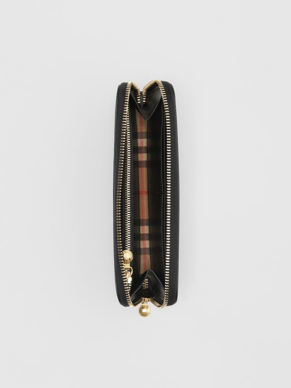 Vintage Check and Leather Ziparound Wallet in Black - Women | Burberry Australia - cell image 2