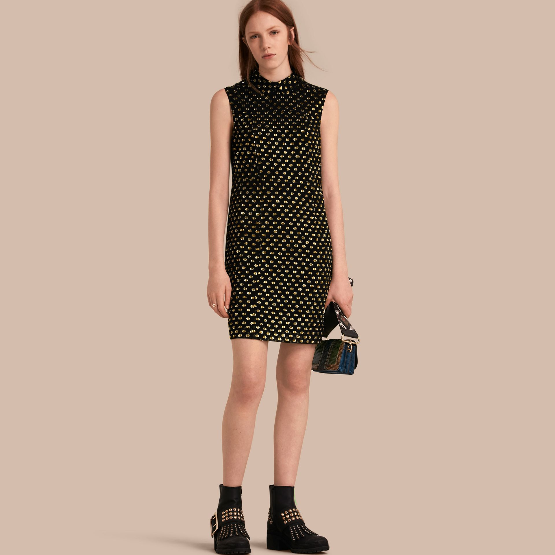 Gold/black Metallic Polka Dot Sleeveless Silk Shift Dress - gallery image 1