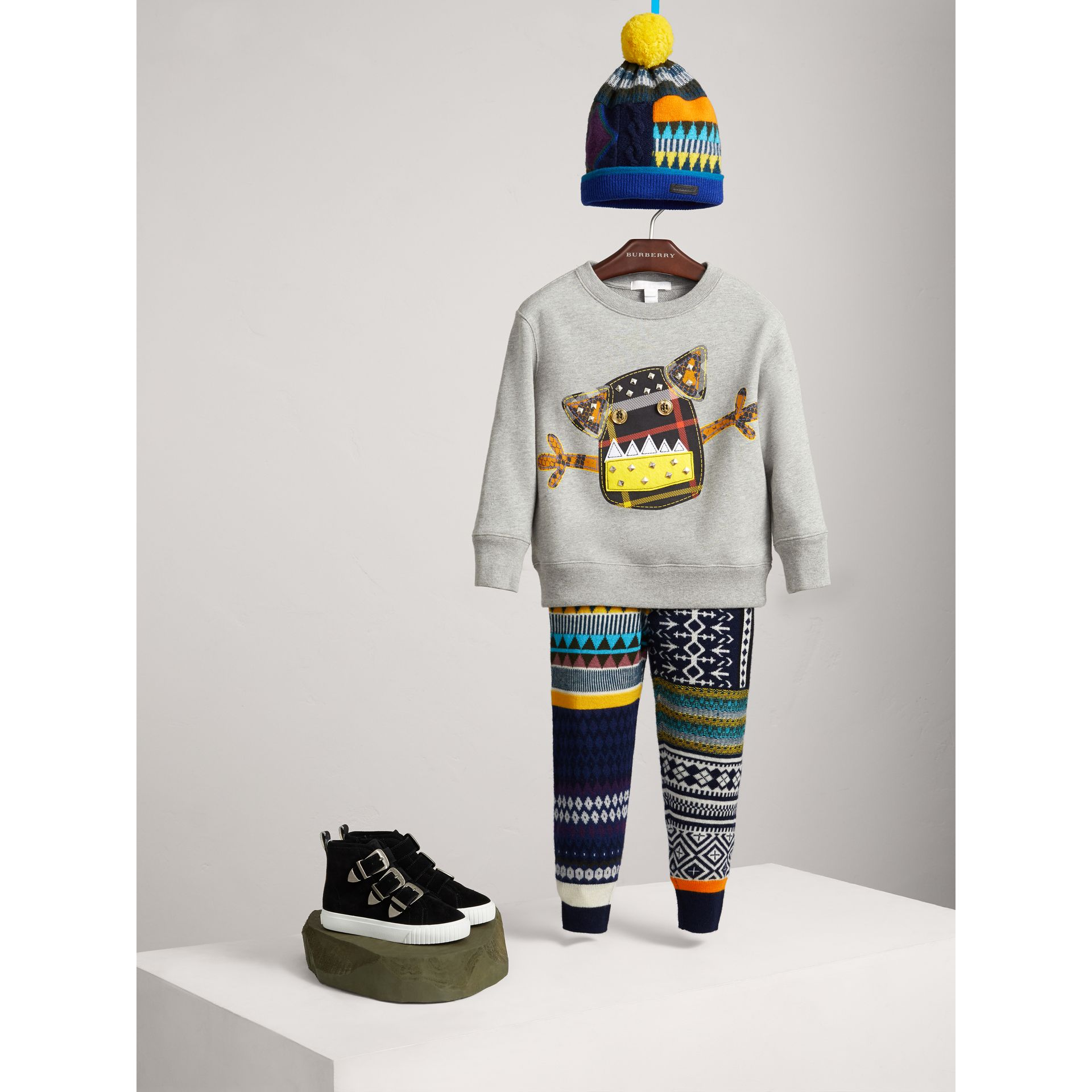 Creature Motif Cotton Jersey Sweatshirt in Grey Melange - Boy | Burberry - gallery image 1