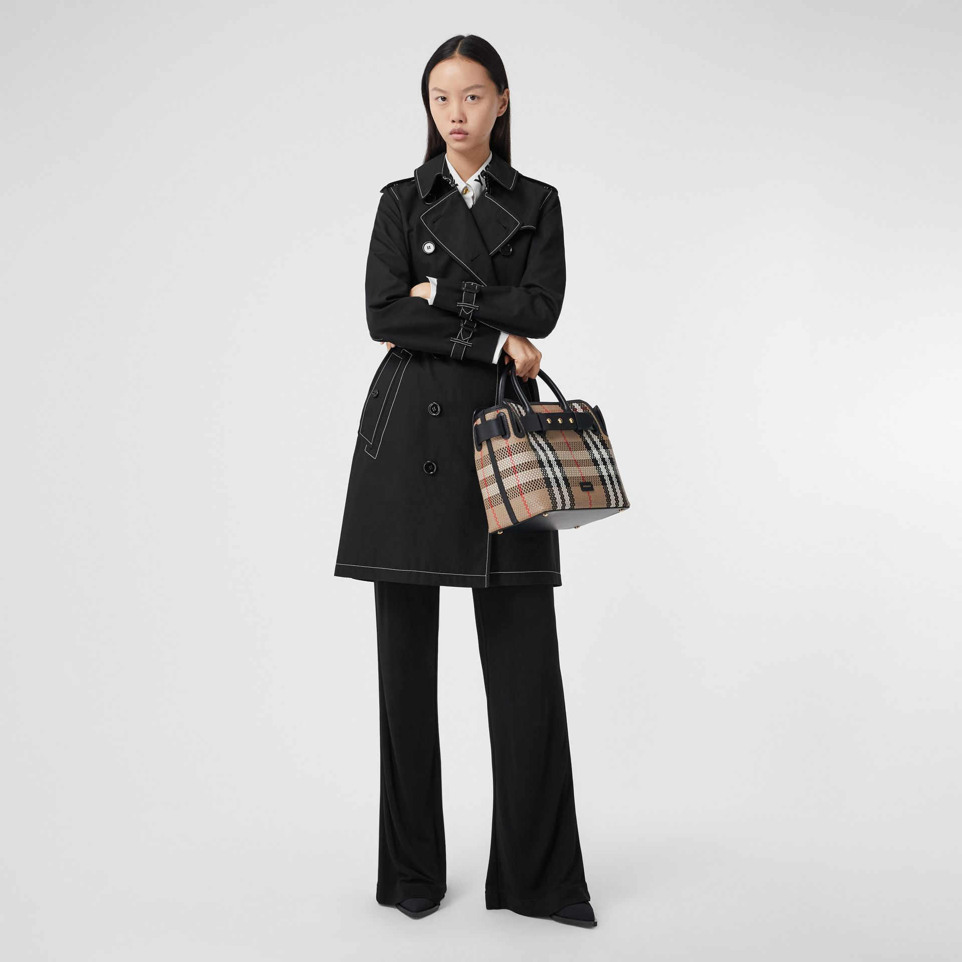 Topstitched Tropical Gabardine Trench Coat in Black - Women | Burberry - gallery image 6