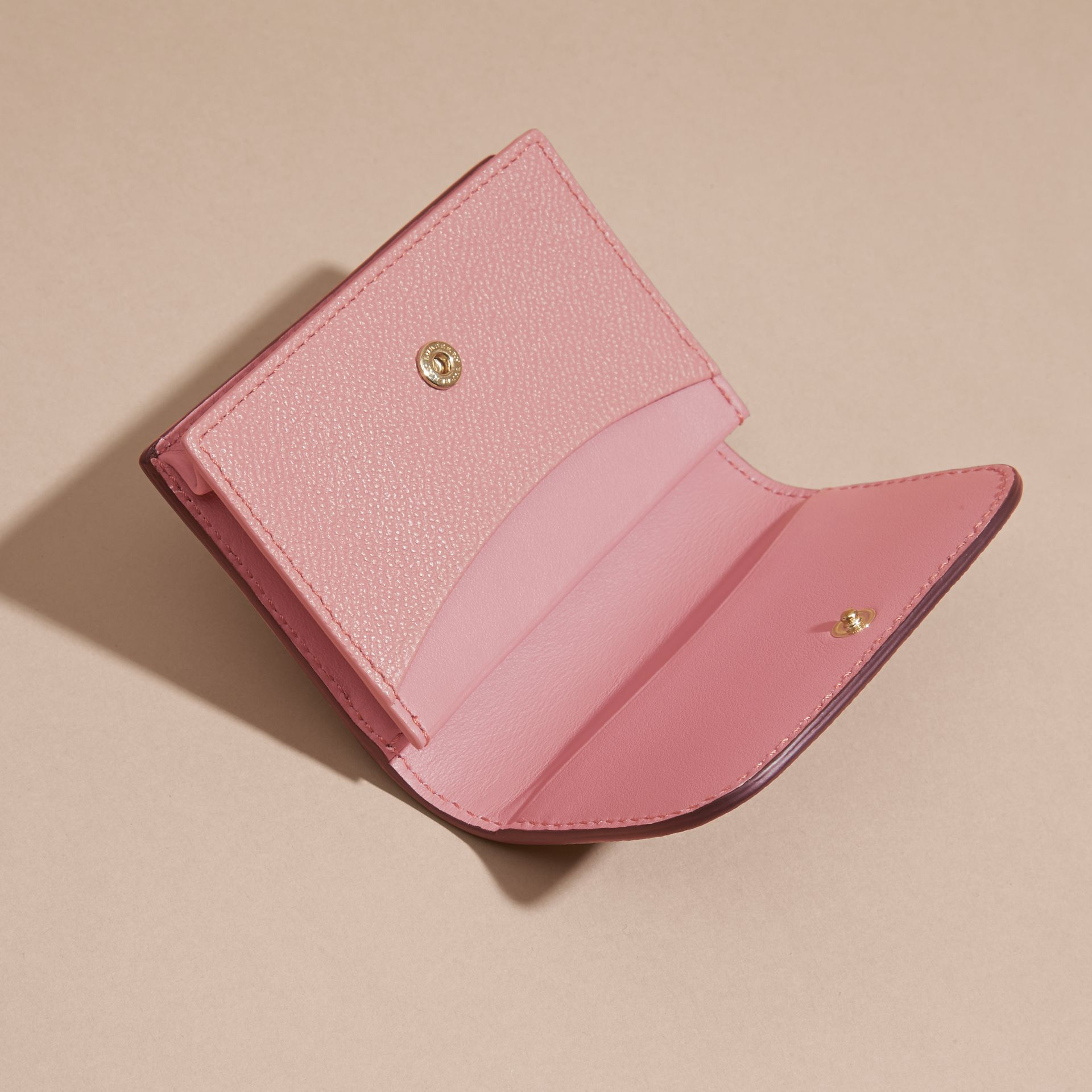 Grainy Leather Card Case in Dusty Pink - gallery image 5
