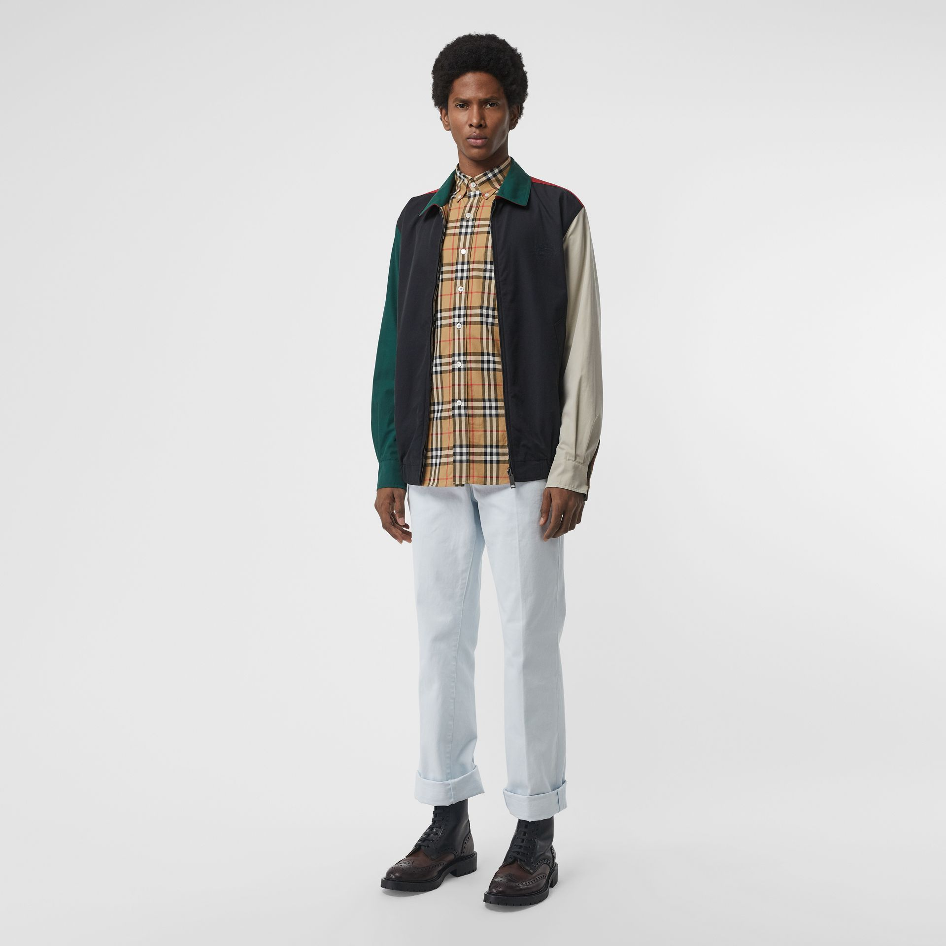 Button-down Collar Vintage Check Cotton Shirt in Antique Yellow - Men | Burberry Singapore - gallery image 4