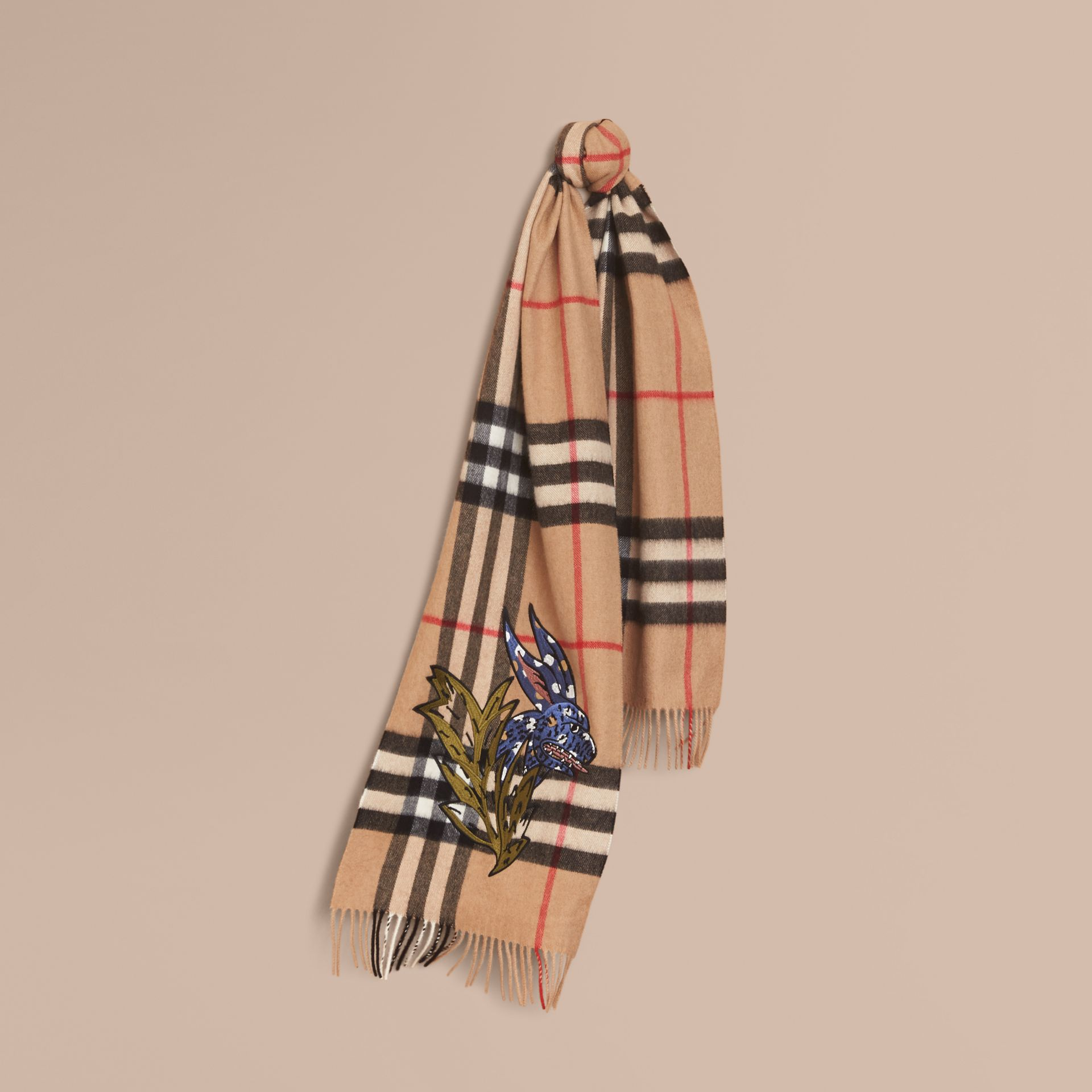 The Classic Cashmere Scarf with Burberry Beasts Motif in Camel | Burberry - gallery image 4
