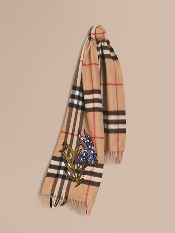 The Classic Cashmere Scarf with Burberry Beasts Motif in Camel | Burberry - cell image 3