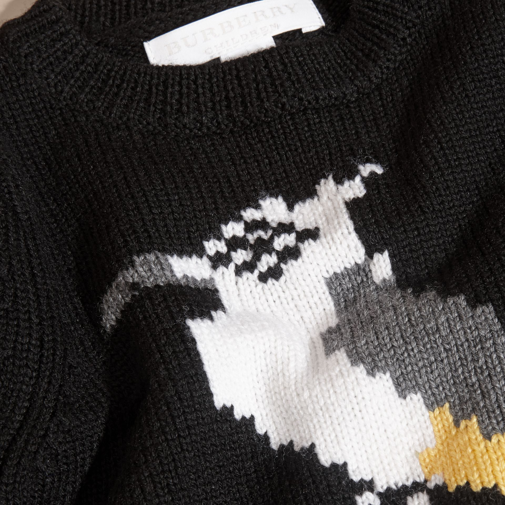 Black Woodpecker Intarsia Merino Wool Sweater - gallery image 2