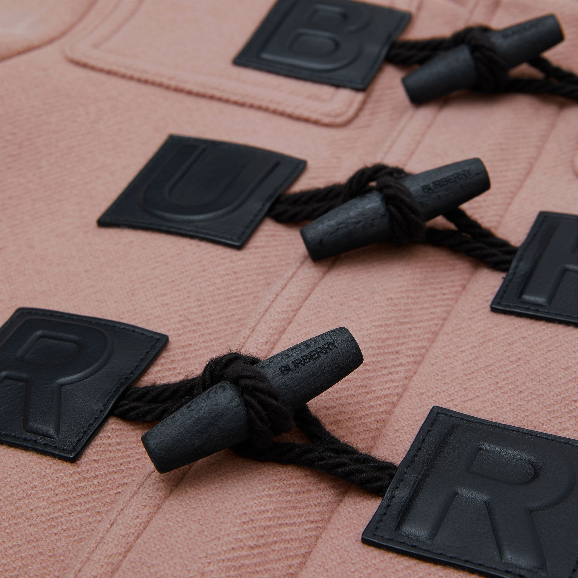 Logo Detail Wool Cashmere Blend Duffle Coat in Lavender Pink | Burberry - gallery image 1
