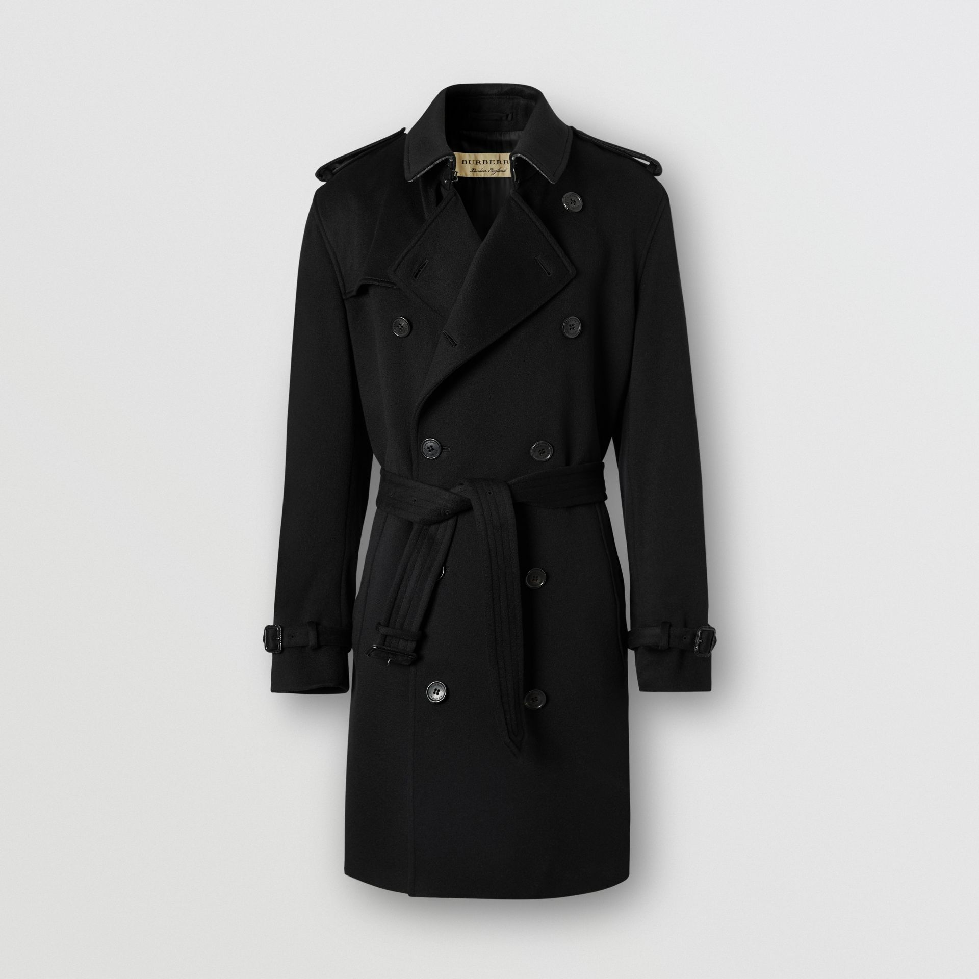 Cashmere Trench Coat in Black - Men | Burberry Australia - gallery image 3