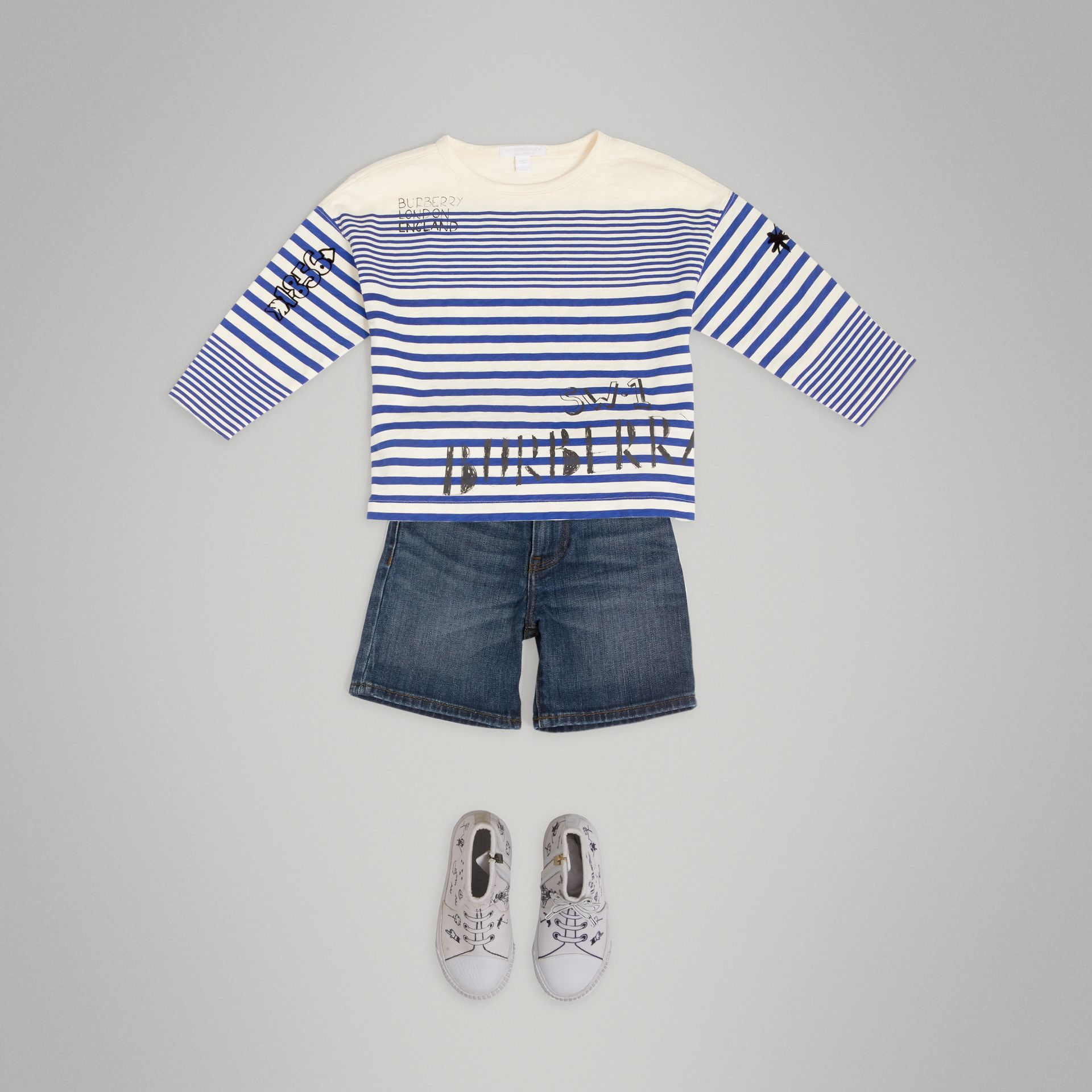 SW1 Print Striped Cotton Top in Bright Lapis/natural White - Boy | Burberry United States - gallery image 0